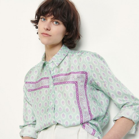 last chance printed silk shirt - mint best price limited sale