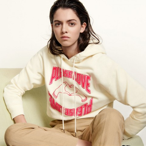 limited sale hoodie with flocked motifs - shell best price last chance