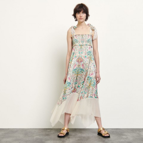 limited sale long pleated print dress - ivory last chance best price