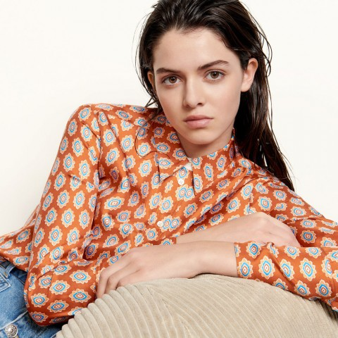 best price classic shirt in printed silk - rust limited sale last chance
