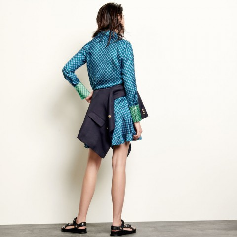 best price printed silk shirt - forest green last chance limited sale