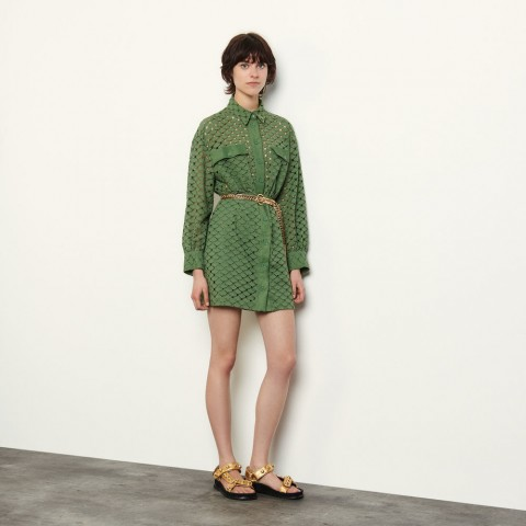 last chance broderie anglaise shirt dress - olive green best price limited sale