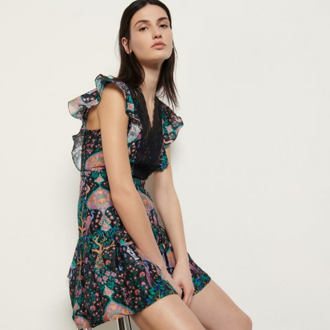 limited sale short printed dress with lace - black last chance best price