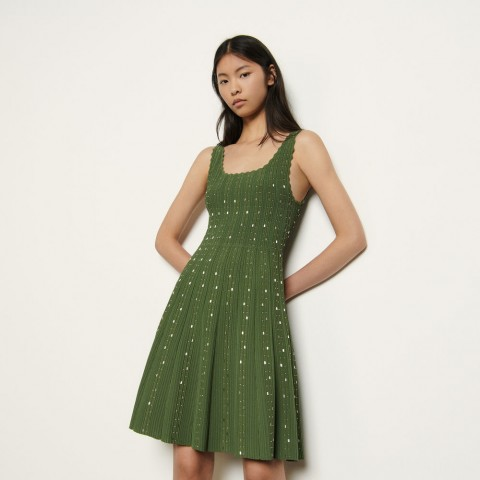 limited sale knitted dress with bead jewels - olive green last chance best price