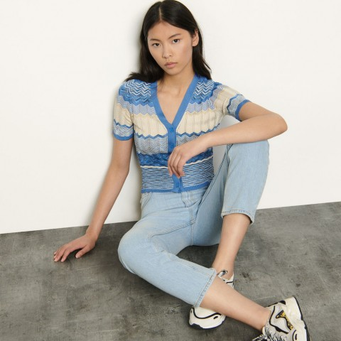 last chance short-sleeved striped cardigan - sky blue limited sale best price