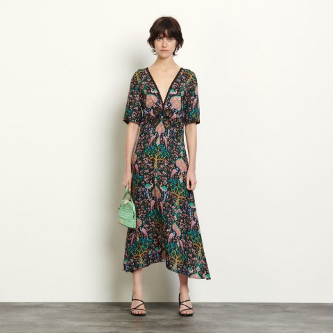best price long dress in printed jacquard - black limited sale last chance