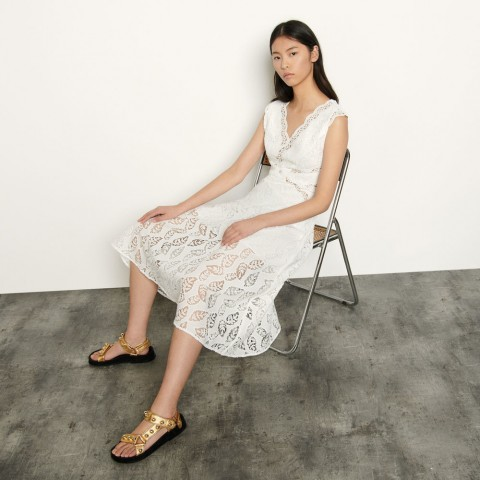 last chance long sleeveless lace dress - white limited sale best price