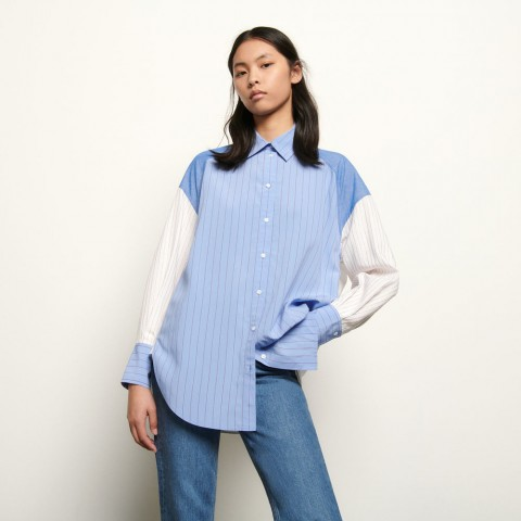 best price oversized striped patchwork shirt - blue/white last chance limited sale