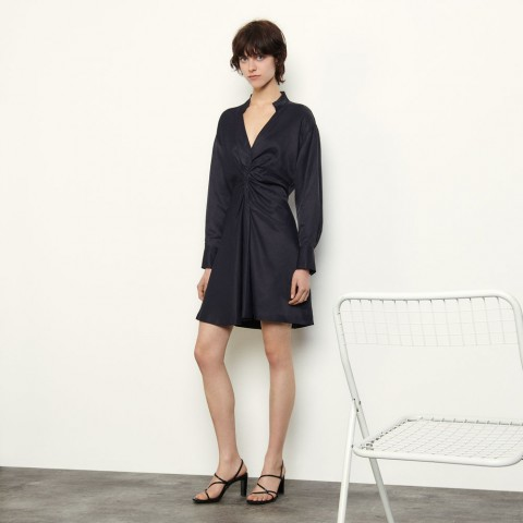 best price long-sleeved short dress - navy blue limited sale last chance