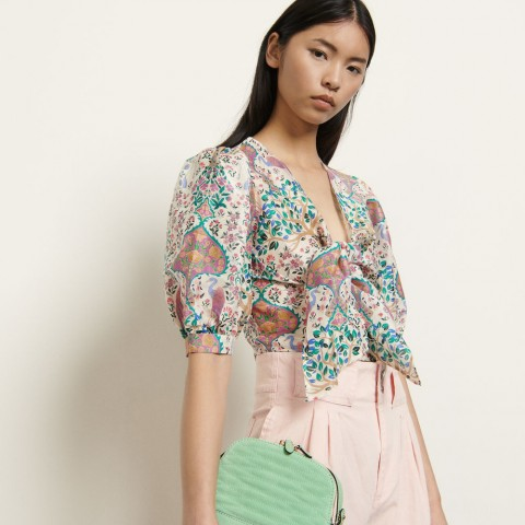 limited sale printed cropped top in linen and silk - ivory best price last chance