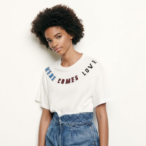 limited sale t-shirt with message patch - white best price last chance