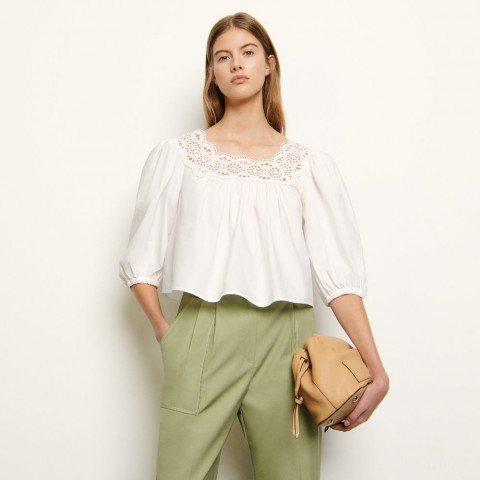 best price loose-fitting top with puff sleeves - white last chance limited sale