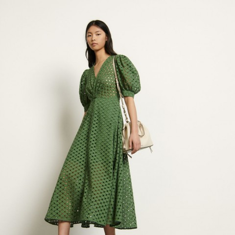limited sale long broderie anglaise dress - olive green last chance best price