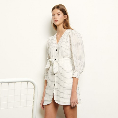 limited sale short dress with fine stripes - white last chance best price
