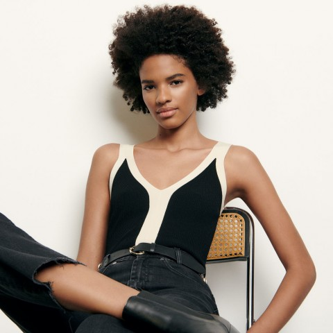 last chance two-tone knitted bodysuit with straps - black limited sale best price