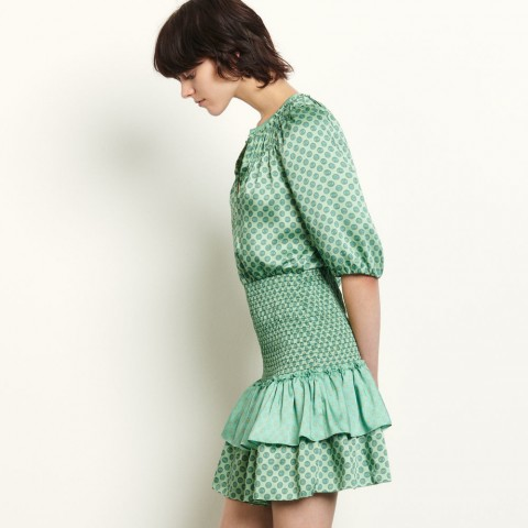 limited sale short mixed print dress with smocking - mint best price last chance