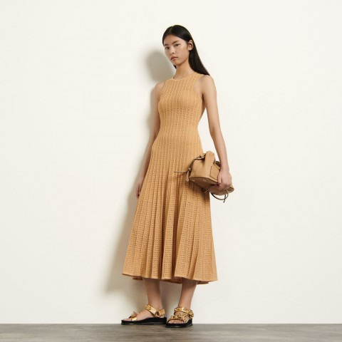 limited sale long patterned pointelle dress - gold last chance best price
