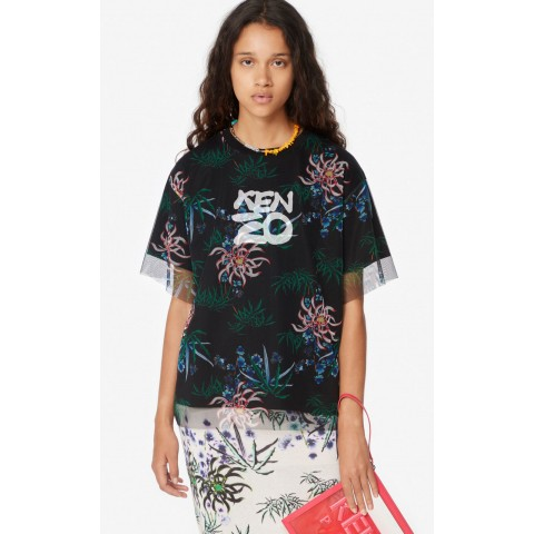 last chance sea lily' dual-material t-shirt - black best price limited sale