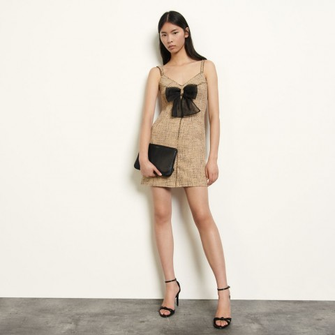 best price tweed dress with straps - beige limited sale last chance