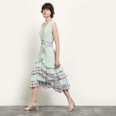 limited sale long printed ruffled dress - mint last chance best price