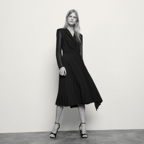 last chance long-sleeved dual-fabric dress - black best price limited sale