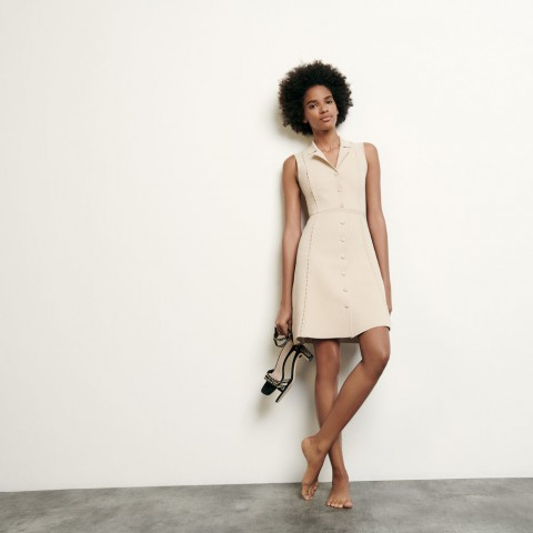 best price short knitted dress with tailored collar - beige limited sale last chance