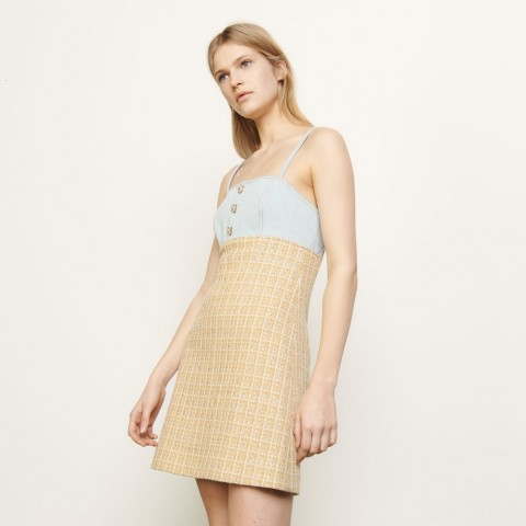 limited sale tweed dress with straps - beige best price last chance