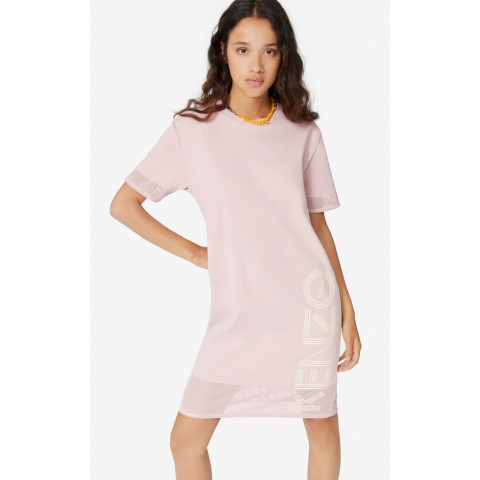last chance dual-material kenzo logo dress - faded pink limited sale best price