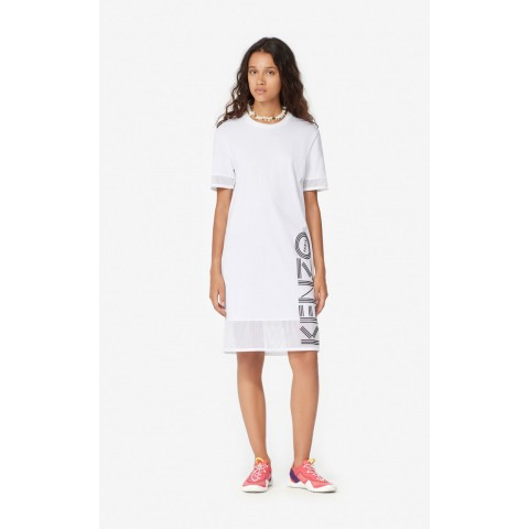 best price dual-material kenzo logo dress - white limited sale last chance