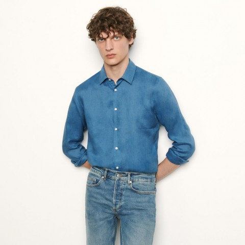 best price long-sleeved linen shirt - blue last chance limited sale
