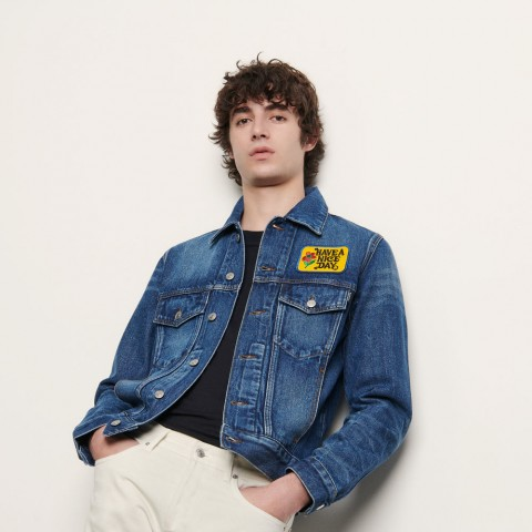 limited sale denim jacket embroidered with patch - blue vintage best price last chance