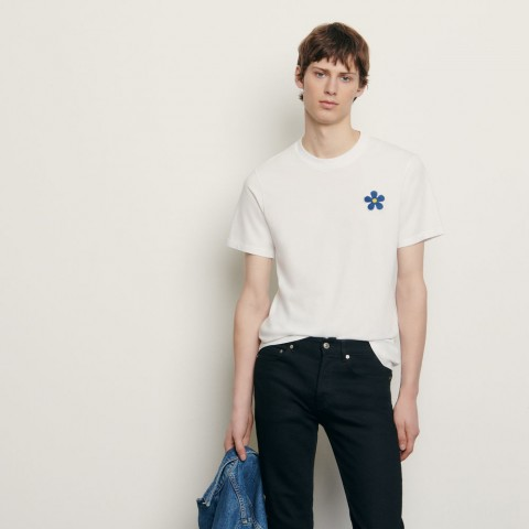 limited sale cotton t-shirt with embroidered patch - white last chance best price