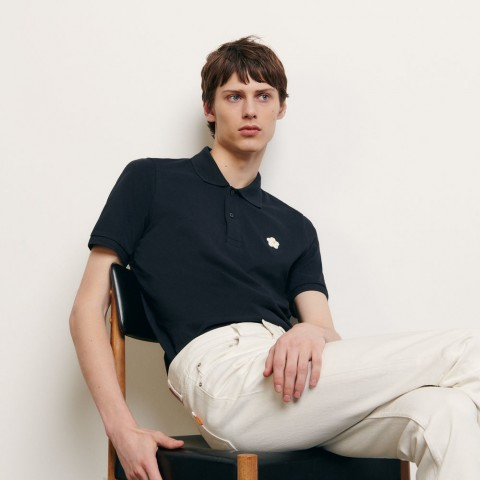 limited sale cotton polo shirt with embroidered patch - navy blue best price last chance