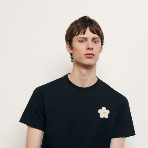 limited sale cotton t-shirt with embroidered patch - black last chance best price