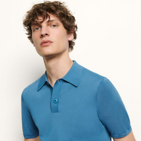 last chance fine knit polo shirt with short sleeves - blue limited sale best price