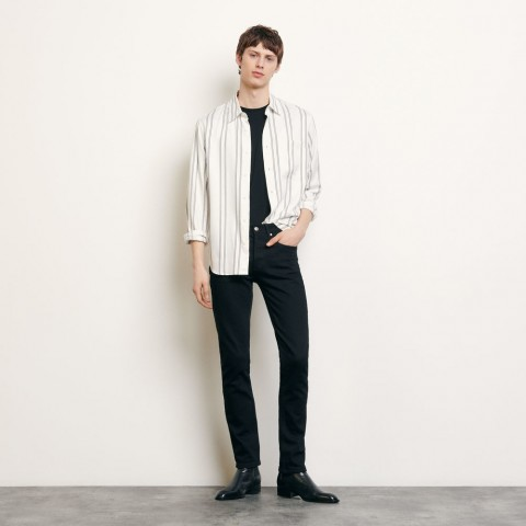 best price striped flowing shirt - white last chance limited sale