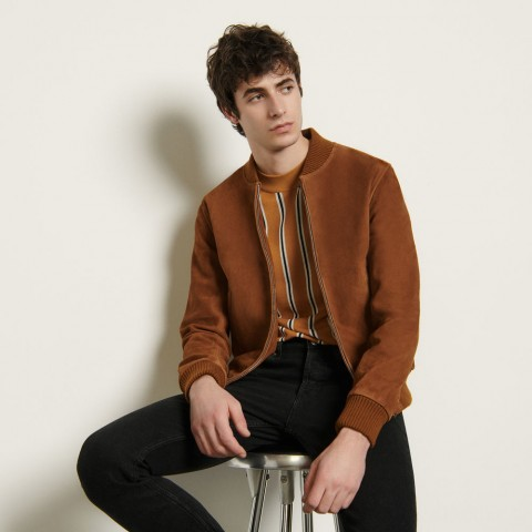 best price suede zipped jacket - camel last chance limited sale