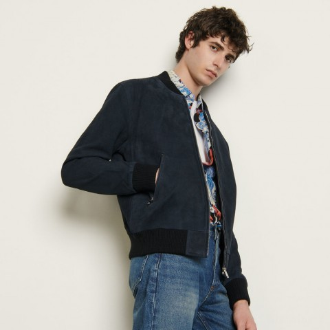 last chance suede zipped jacket - navy blue limited sale best price