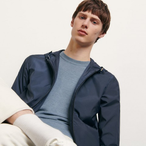 limited sale technical jacket with hood - navy blue last chance best price