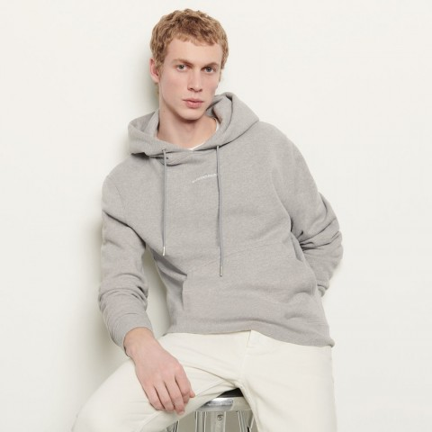 last chance hoodie sweatshirt with logo embroidery - mocked grey best price limited sale