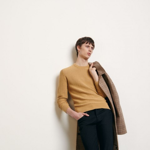 limited sale openwork knit sweater - camel last chance best price