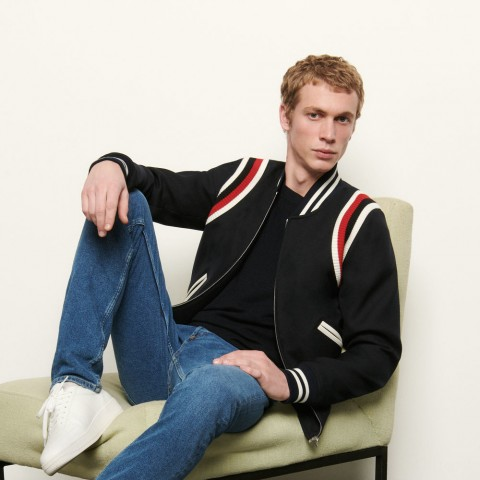 last chance tricolor ribbed varsity jacket - navy blue limited sale best price