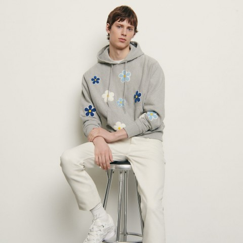 best price hoodie with embroidered patch - mocked grey limited sale last chance