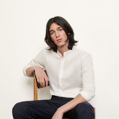 best price cotton shirt with mandarin collar - white limited sale last chance