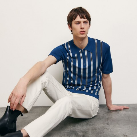 limited sale striped knit polo shirt - blue best price last chance