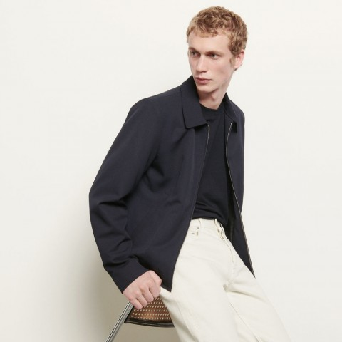 best price wool jacket with shirt collar - navy blue limited sale last chance