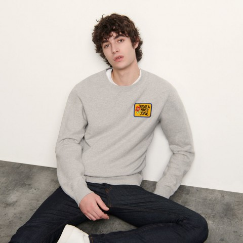 last chance sweater with embroidered patch - mocked grey limited sale best price