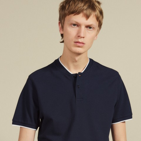 last chance polo shirt with contrasting collar - navy blue limited sale best price