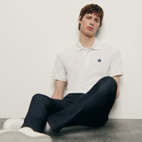 last chance cotton polo shirt with embroidered patch - white limited sale best price