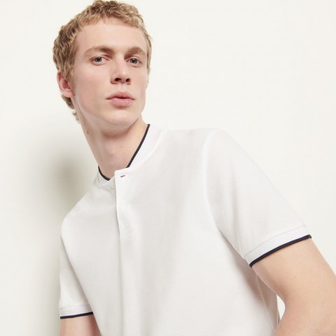 limited sale polo shirt with contrasting collar - white best price last chance